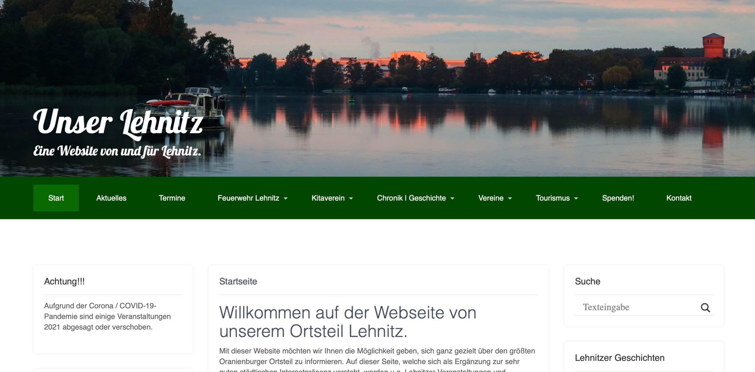 Webseite Unser Lehnitz